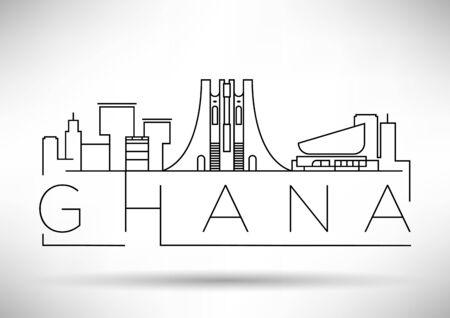 Skyline linéaire du Ghana minimal avec un design typographique Vecteurs