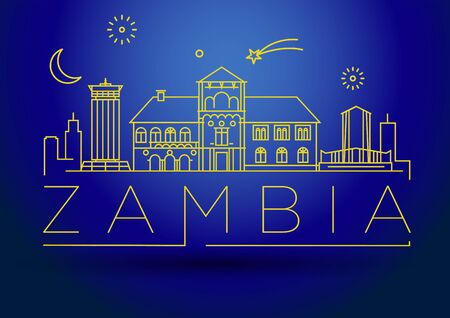 Minimal Zambia Linear Skyline with Typographic Design
