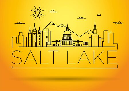 Minimal Salt Lake City Linear Skyline with Typographic Design Stock fotó - 134437338