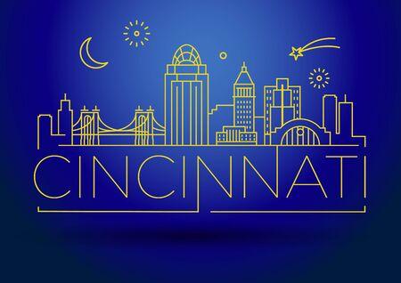 Minimal Cincinnati City Linear Skyline with Typographic Design