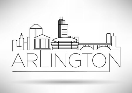 Minimal Arlington City Linear Skyline with Typographic Design