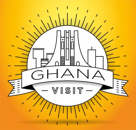 Minimal Ghana Linear Skyline with Typographic Design