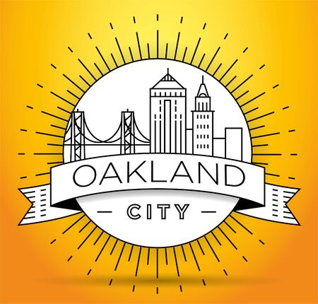 Minimal Oakland City Linear Skyline with Typographic Design