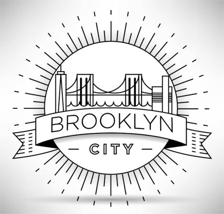 Minimal Brooklyn City Linear Skyline with Typographic Design Illusztráció