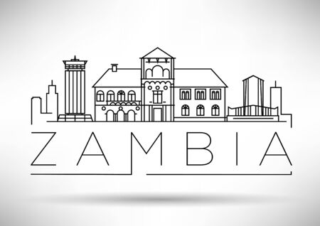 Skyline linéaire minimale de la Zambie avec un design typographique Vecteurs