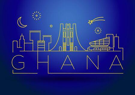 Minimal Ghana Linear Skyline with Typographic Design