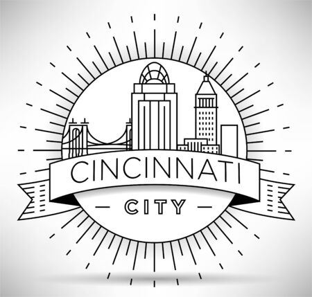 Minimal Cincinnati City Linear Skyline with Typographic Design