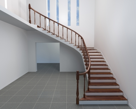 helical staircase render Stock Photo