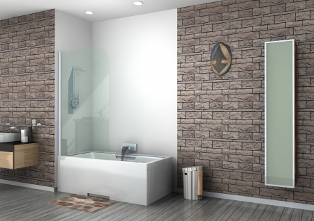walk-in shower rendering photo