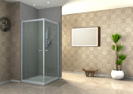 walk-in shower Stock Photo - 22722304
