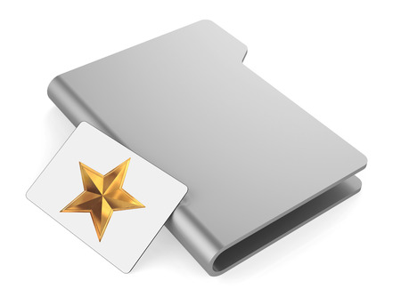 white folder icon and star photo
