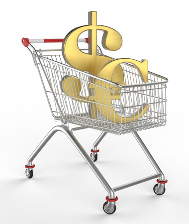 lucrative: shop cart and money icon