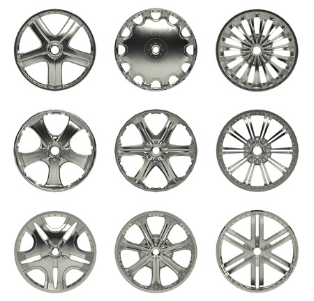 Collection Car Wheel disks, isolated on white background photo