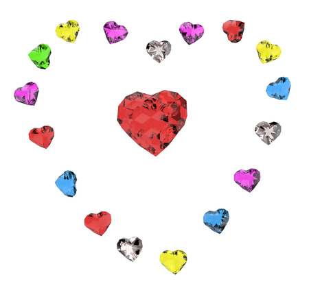 rich couple: colored hearts
