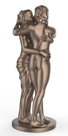 Sexy young couple kissing statue photo