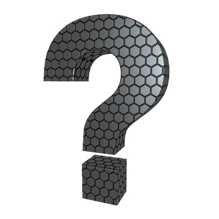 be careful: question mark sign in the hexagonal pattern Stock Photo