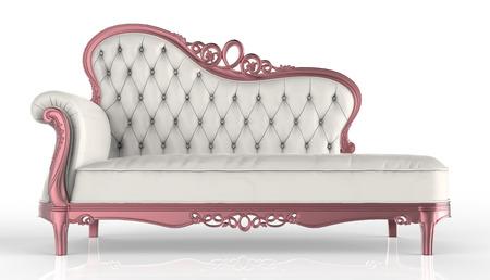white leather: white leather sofa Stock Photo