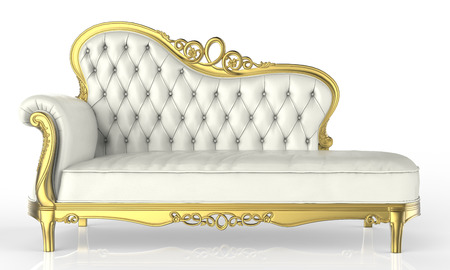 guest house: white leather sofa Stock Photo