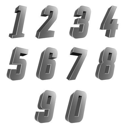0 9: Number from 0 to 9 over white background Stock Photo