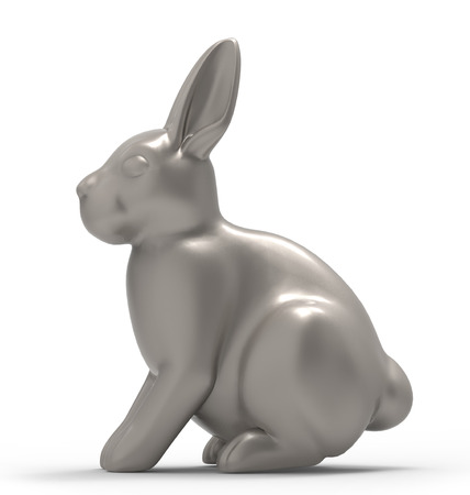 cut away: rabbit  isolated on white