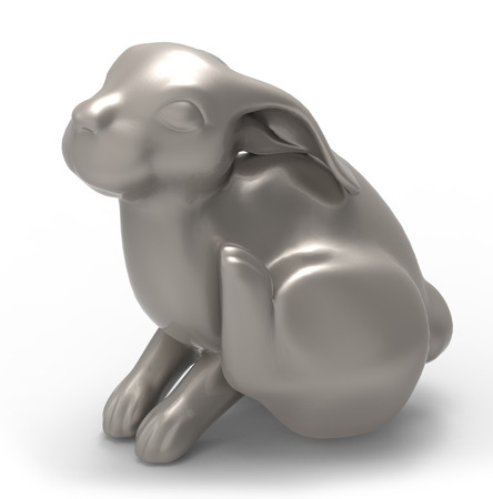 knickknack: rabbit  isolated on white