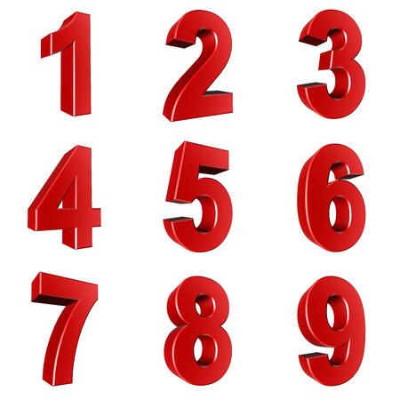 Nummer van 1 tot 9 in het rood op een witte achtergrond Stockfoto