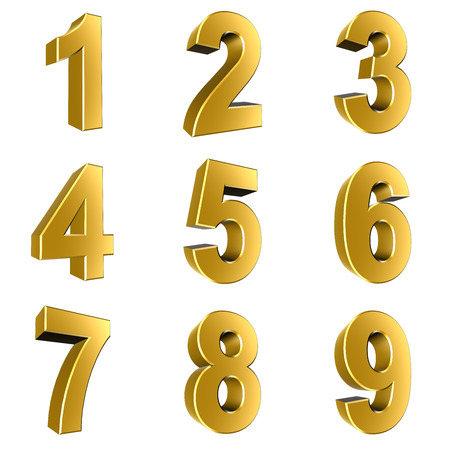 Number from 1 to 9 in gold over white background Stock Photo