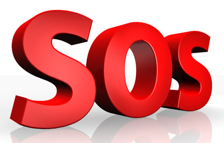 sos: 3d SOS text isolated over white background