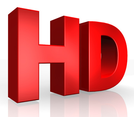 3D HD text on white background Stock Photo