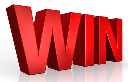 win win: 3D win text on white background