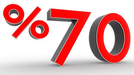 3d colecci�n de descuento rojo - fondo blanco aislado el 70 por ciento