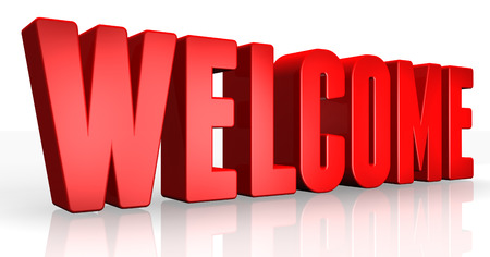 3D welcome text on white background Stock Photo