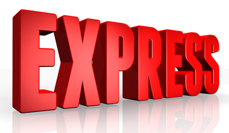 urgently: 3D express text on white background