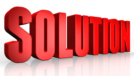solution: 3D solution text on white background Stock Photo