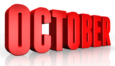 3D october text on white background Banque d'images