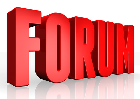 3D forum text on white background photo