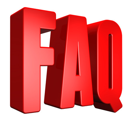 3D faq text on white background photo