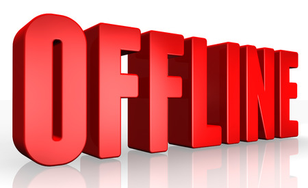 offline: 3D offline text on white background