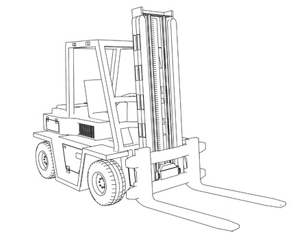 forklift: Drawing Forklift on a white background