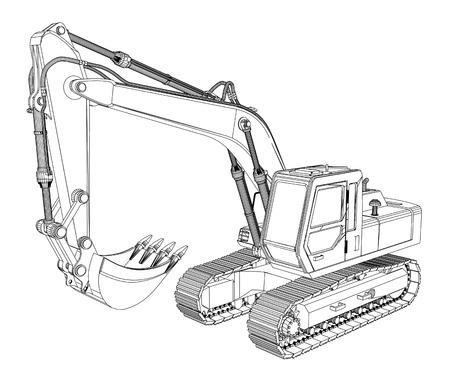 excavator sketch isolated on white background