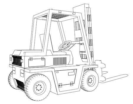 Drawing Forklift on a white background