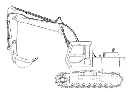power shovel: excavator sketch isolated on white background