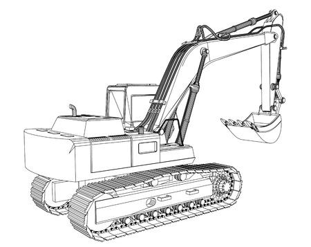 excavator sketch isolated on white background photo