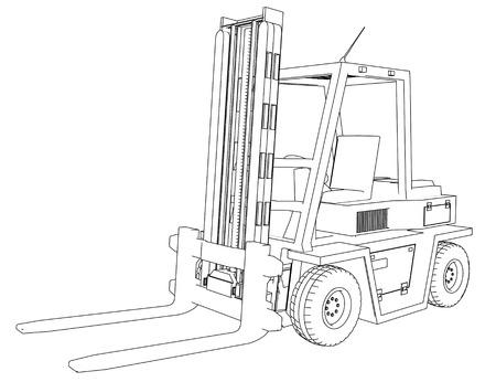 Dibujo Carretilla elevadora sobre un fondo blanco Foto de archivo
