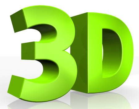 stereoscope: 3D text on white background Stock Photo