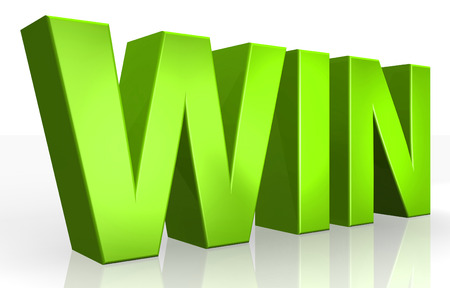 win money: 3D win text on white background