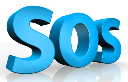 3d SOS text isolated over white background