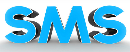 sms text: 3D SMS text on white background Stock Photo