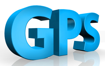 points of interest: 3D GPS text on white background