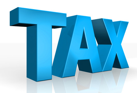 tax time: 3D Tax text on white background